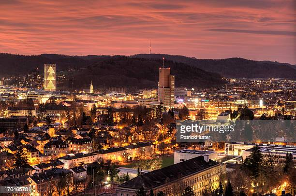 Landscape view of a city in Switzerland during sunset