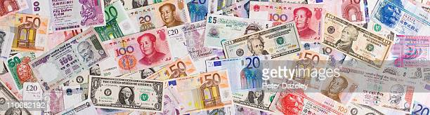 Landscape view of assorted currency bank notes