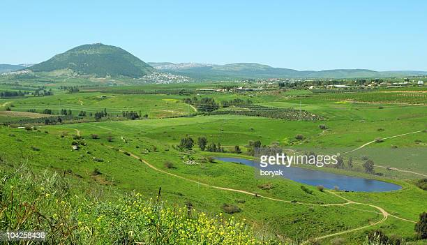 landscape view of mount tabor and surrounding area in israel - israel stock pictures, royalty-free photos & images