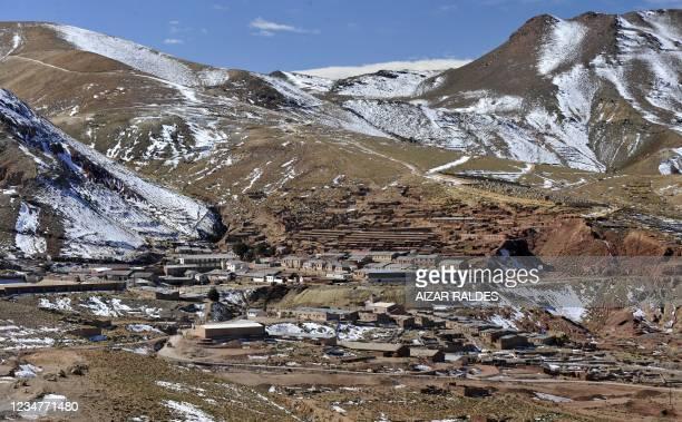 Landscape view of Pulacayo, a former mining center near the Uyuni salt flat, in the Potosi department, Bolivia on July 20, 2011. The Uyuni salt flat...