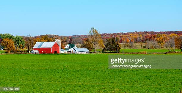 Landscape view of red Midwestern dairy farmhouse and land