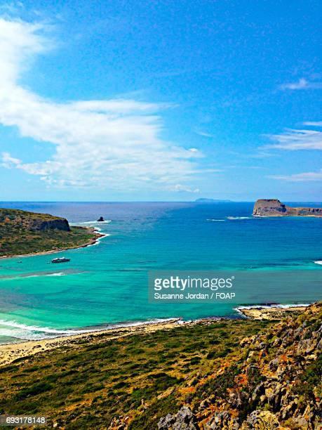Landscape view of sea at crete, Greece