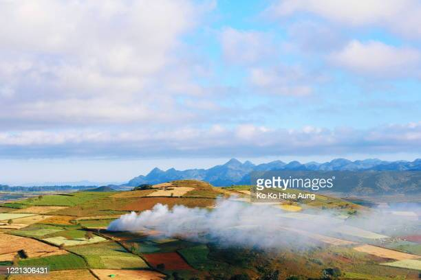 landscape view of southern shan state - ko ko htike aung stock pictures, royalty-free photos & images