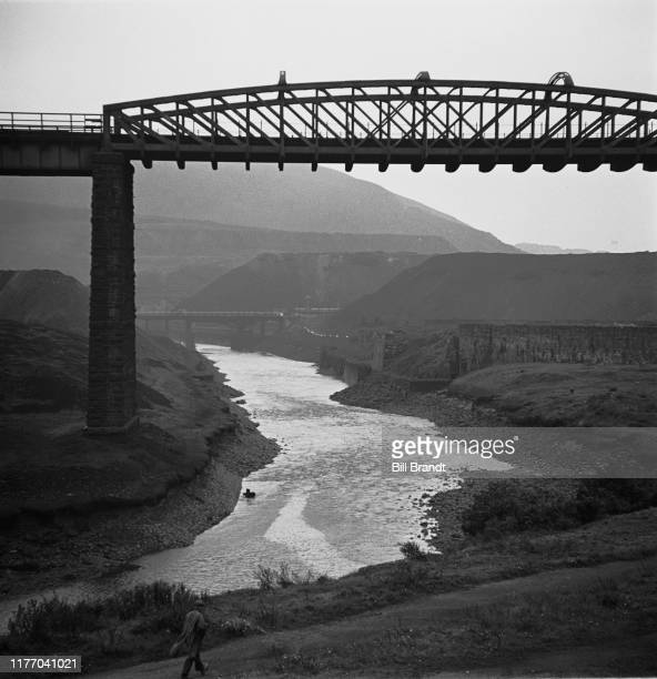 Landscape view of the Landore Viaduct over the River Tawe in the industrialised Swansea Valley in South Wales 1943 Original Publication Picture Post...