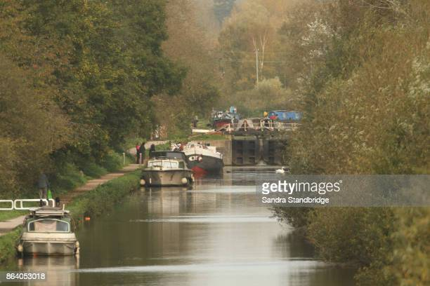 a landscape view of the river lee naviation system in cheshunt, england. - hertfordshire stock pictures, royalty-free photos & images