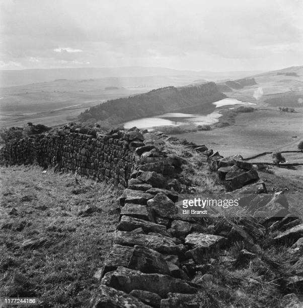 A landscape view of the Roman Hadrian's Wall near Hexham in Northumberland October 1943 Original Publication Picture Post 1562 The Threat To The...