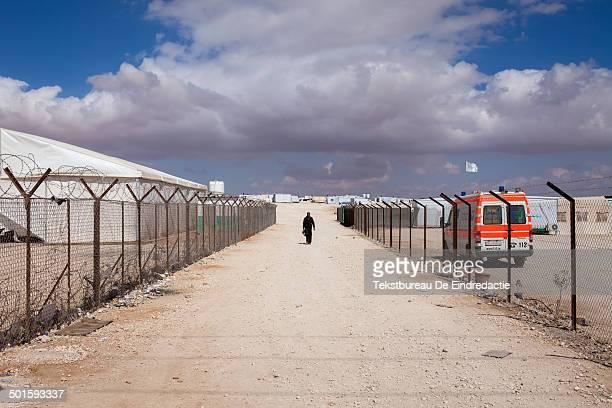 CONTENT] Landscape view of Zaatari Syrian refugee camp in northern Jordan under a cloudy winter sky