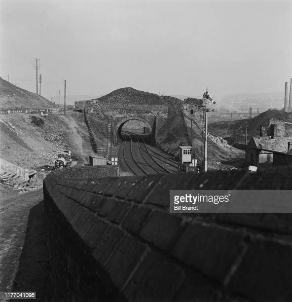 A landscape view railway lines in the industrialised Swansea Valley in South Wales 1943 Original Publication Picture Post story 1448 The Story of the...