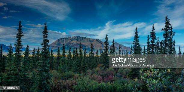 Landscape views of Central Alaskan Range Route 8 Denali Highway Alaska a dirt road offers stunning views of Mt Hess Hayes and Mt Debora