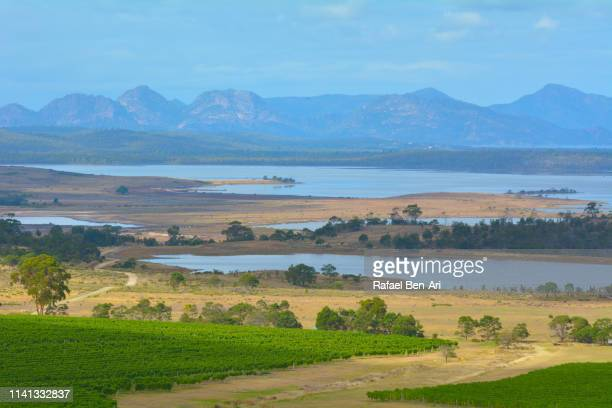 landscape views of the hazards range tasmania australia - rafael ben ari stock pictures, royalty-free photos & images