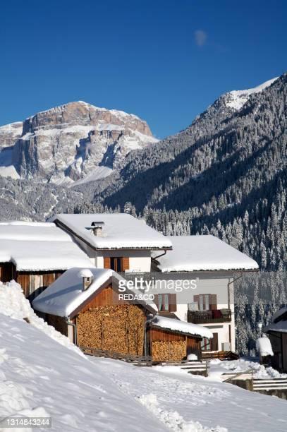 Landscape. Village of Muncion. Overview. Trentino Alto Adige. Fassa Valley.