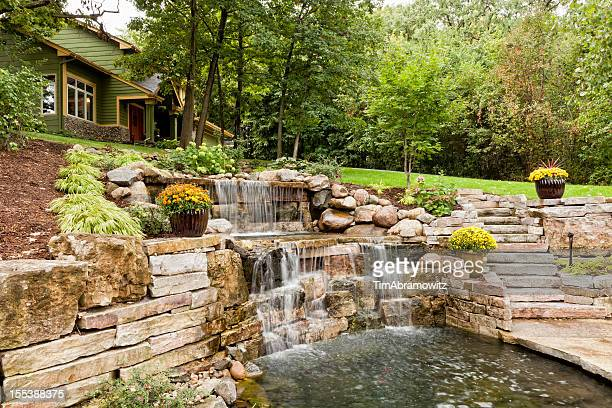 landscape waterfall - show garden stock photos and pictures