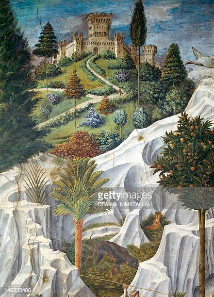 Landscape with a castle detail from the Procession of the Magi King's to Bethlehem by Benozzo Gozzoli fresco tempera and oil on wall Chapel of...