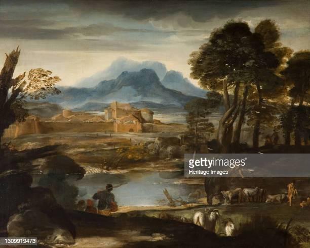 Landscape with a Lake and a Walled Town, 1635. Attributed to Pietro B da Cortona. Artist Pietro da Cortona. .