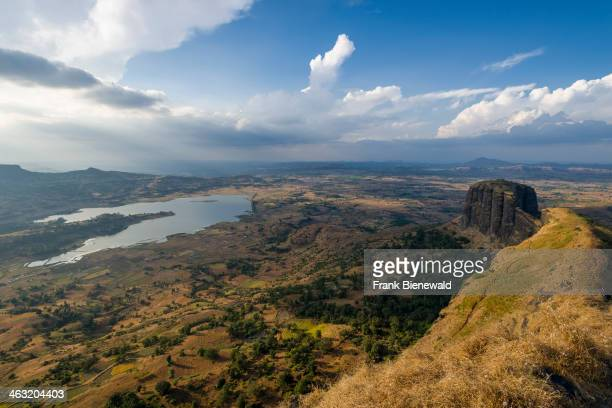 TRMBAKESHWAR MAHARASHTRA INDIA Landscape with a lake around the village of Trmbakeshwar the place of the source of the holy river Godwari and a...