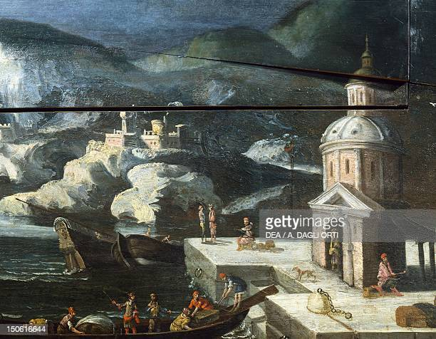Landscape with architectural elements detail from a painting on an 18th century harpsichord