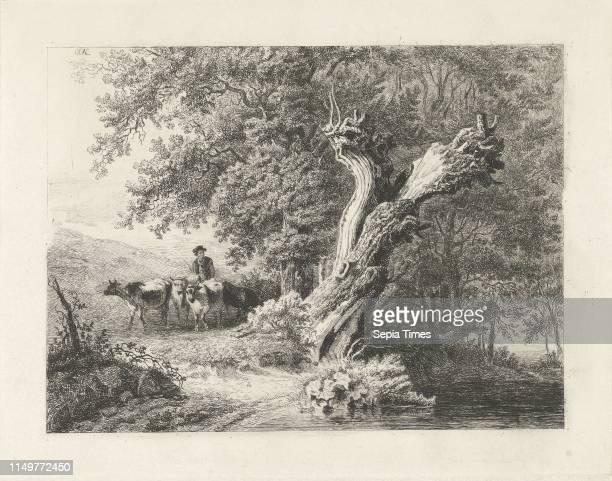 Landscape with bare tree and Shepherd Constantinus Cornelis Huysmans 1820 1886