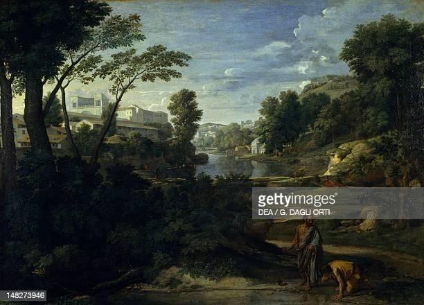 Landscape with Diogenes or Diogenes throwing away his bowl by Nicolas Poussin oil on canvas 160x221 cm Paris Musée Du Louvre