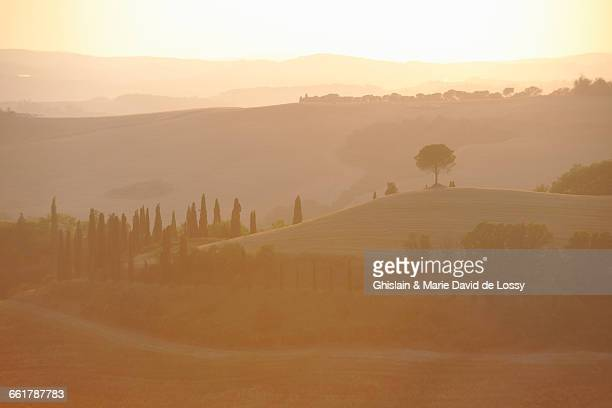 Landscape with distant hills in misty sunrise, Tuscany, Italy