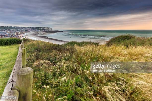 Landscape with elevated view from the cliffs at Mers-les-Bains, a touristic seaside resort, situated on the coast of the English Channel
