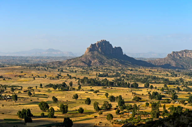 Landscape with eroded flat-topped mountain, Amba, in the Ethiopian Highlands, Tigray, Ethiopia