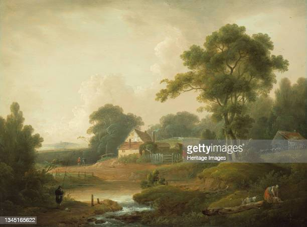 Landscape with Fisherman and Washerwoman, 1790/1800. Artist John Rathbone, George Morland.