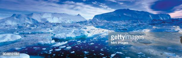 Landscape with icebergs and ice sheets on the ocean.