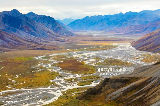 Landscape with Ivishak River and Brooks Range in Arctic National Wildlife Refuge, Alaska, USA