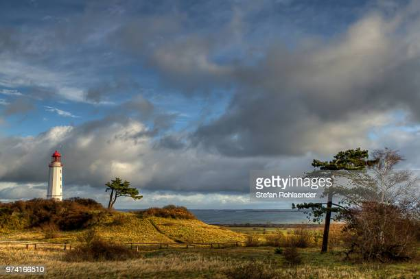 landscape with lighthouse, hiddensee, mecklenburg-vorpommern, germany - mecklenburg vorpommern stock pictures, royalty-free photos & images