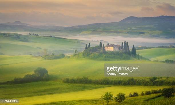 Landscape with mansion, Tuscany, Italy