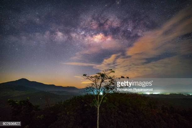 Landscape with Milky way galaxy. Night sky with stars and silhouette tree on the mountain. Long exposure photograph.