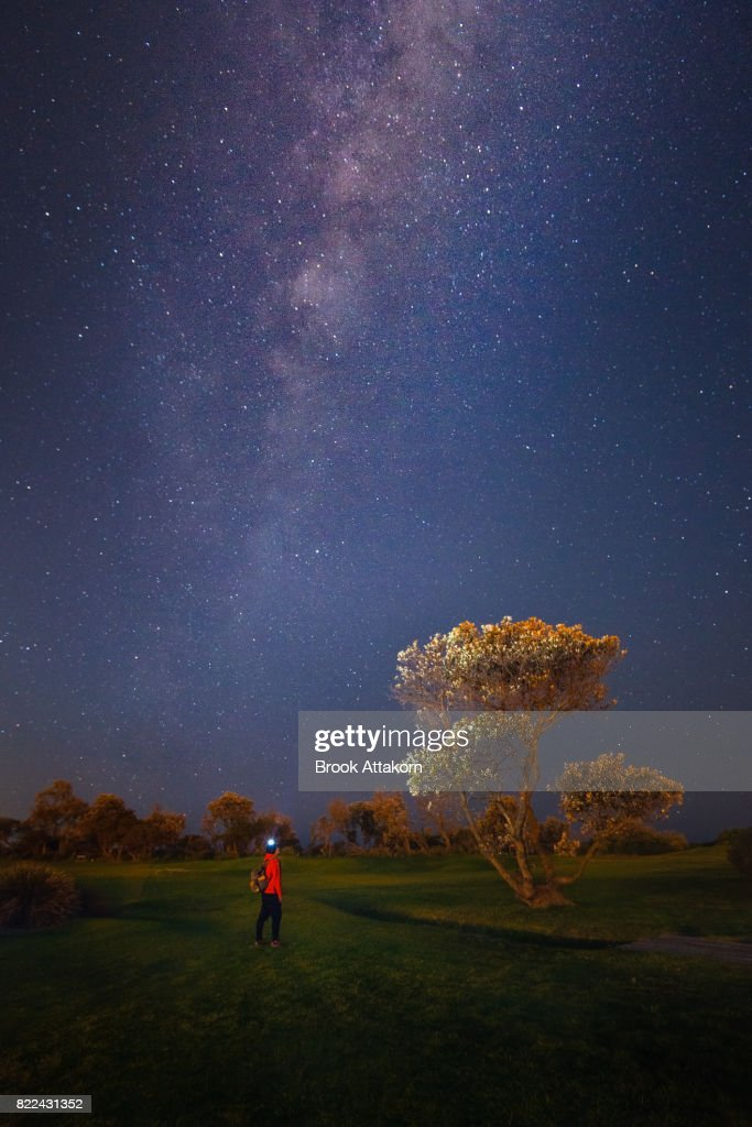 Landscape with Milky Way. : Stock Photo