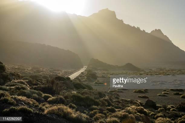paisaje con monte teide, volcán teide y paisaje de lava en el parque nacional del teide-tenerife, españa - paisaje volcánico fotografías e imágenes de stock