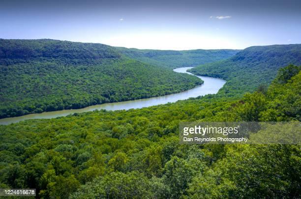 landscape with mountain and winding river - georgia verenigde staten stockfoto's en -beelden