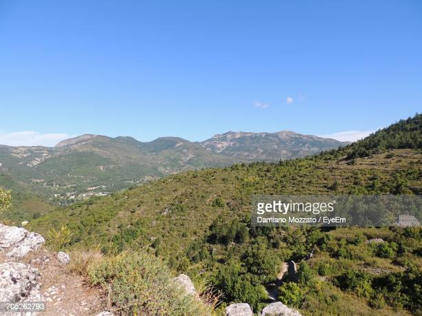 landscape with mountain range in background - alpes de haute provence stock pictures, royalty-free photos & images