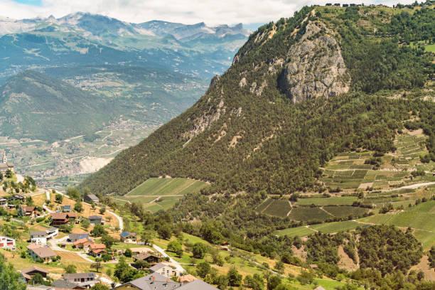 Landscape with mountains and buildings in valley, Zermatt, Valais, Switzerland