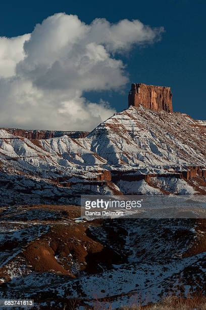 Landscape with mountains covered by snow in Castle Valley, Utah, USA