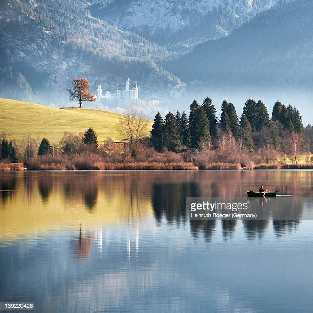landscape with neuschwanstein castle - bavaria stock pictures, royalty-free photos & images