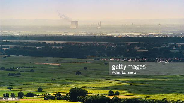 landscape with nuclear power station - achim lammerts stock-fotos und bilder