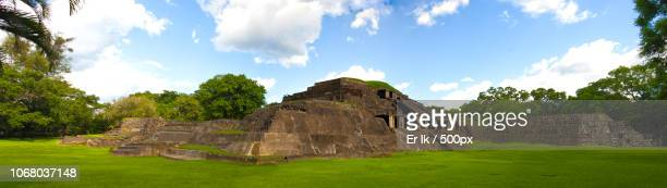 landscape with old ruin under cloudy sky - el salvador stock pictures, royalty-free photos & images