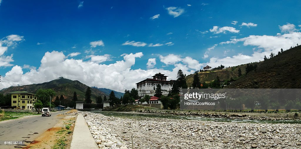 Landscape with Rinpung Dzong in Paro Bhutan : Stock Photo