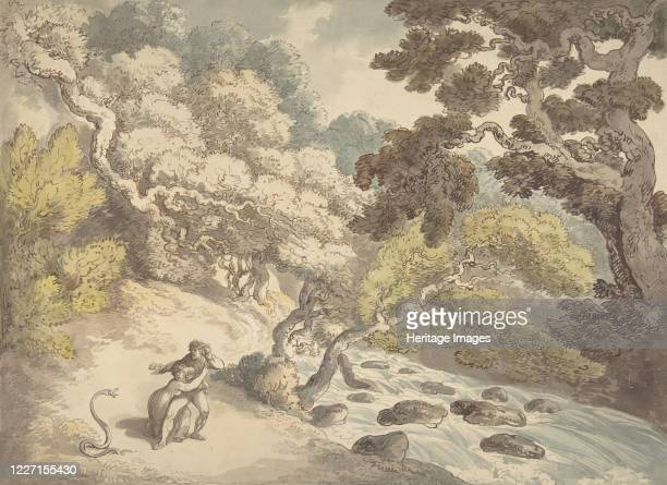 Landscape with rushing stream and a couple on the bank frightened by a snake 17751827 Artist Thomas Rowlandson