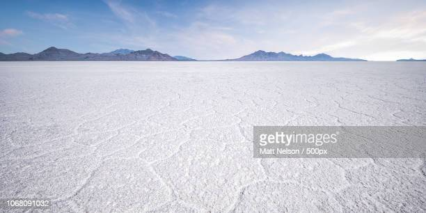 Landscape with salt flats and mountains