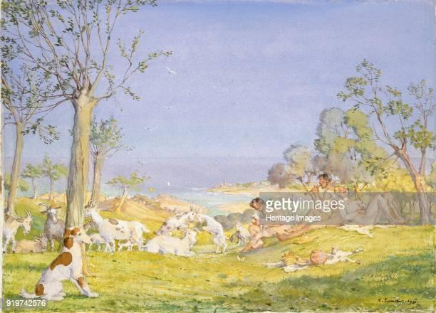 Landscape with Shepherds and Goats 1931 Artist Konstantin Somov