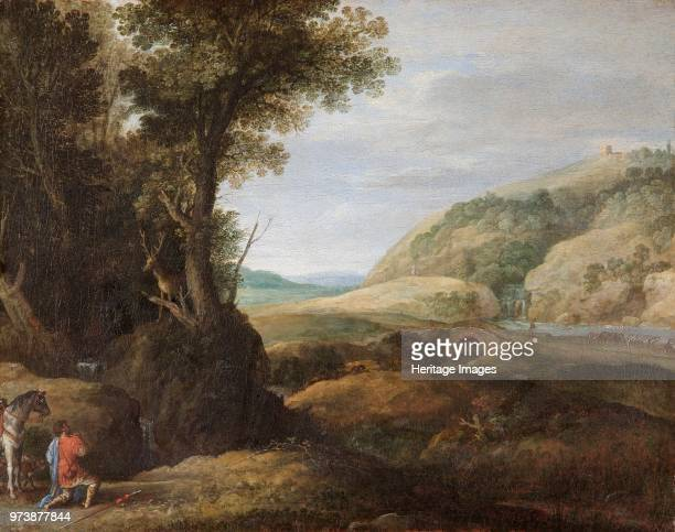 Landscape with St Hubert and the Stag', late 16th or early 17th century. Painting in Apsley House, London. Artist Paul Bril.