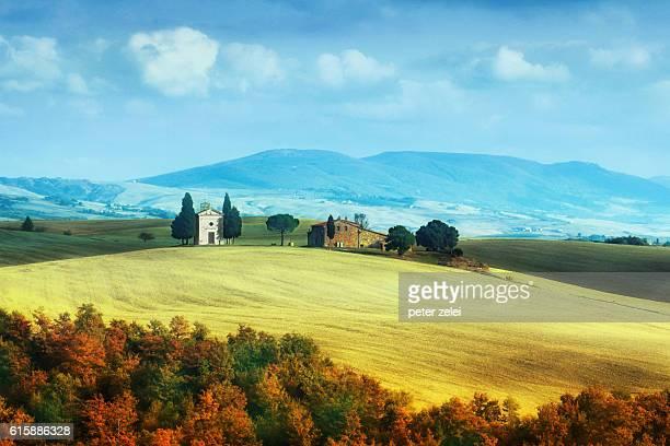 Landscape with the Capella di Vitaleta in Tuscany, Italy