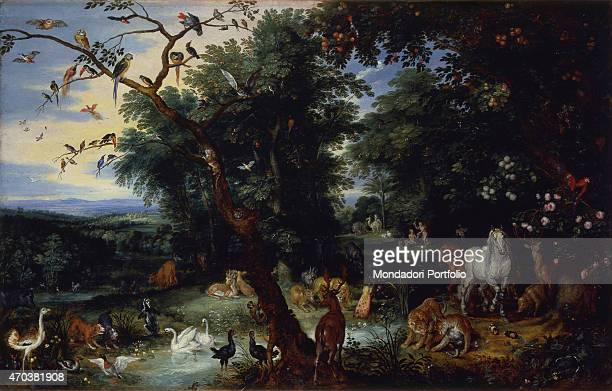 'Landscape with the entrance into the ark of Noah by Jan Snellinck 16th 17th century oil on panel Italy Lombardy Milan Castello Sforzesco Museum of...