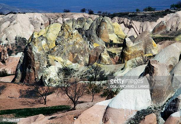 Landscape with the peculiar eroded volcanic tuff formations Cappadocia Turkey