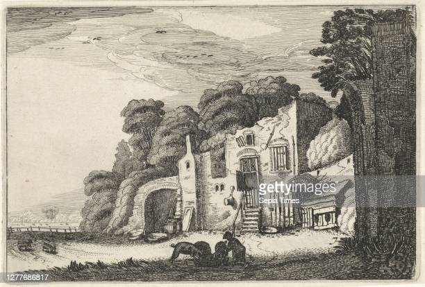 Landscape with the prodigal son among the pigs. Landscapes Amenissimae aliquot requculae , The prodigal son eats with pigs from a crib near a ruin....