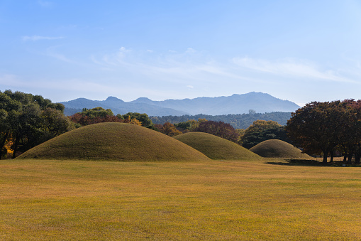 Landscape with Tombs of King Naemul, Gyeongju, South Korea - gettyimageskorea